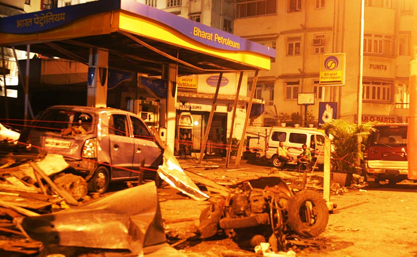 The aftermath of the attacks. A grenade damaged service station near Chabad House. (Joe Leahy/FT)