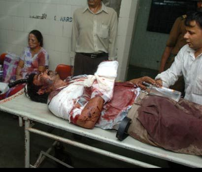 Injured officer being taken to hospital